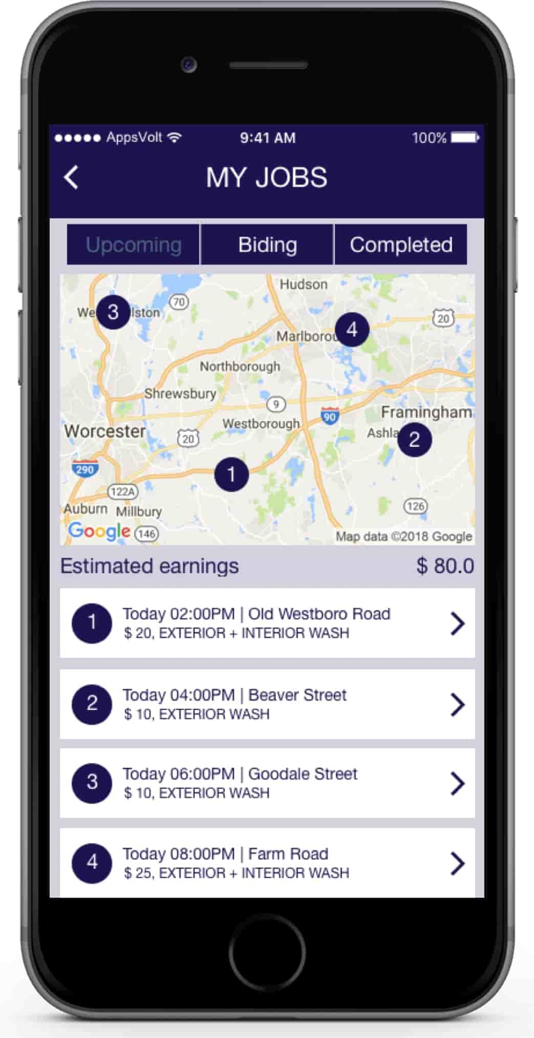 Car Washing Booking iOS Application-my-jobs