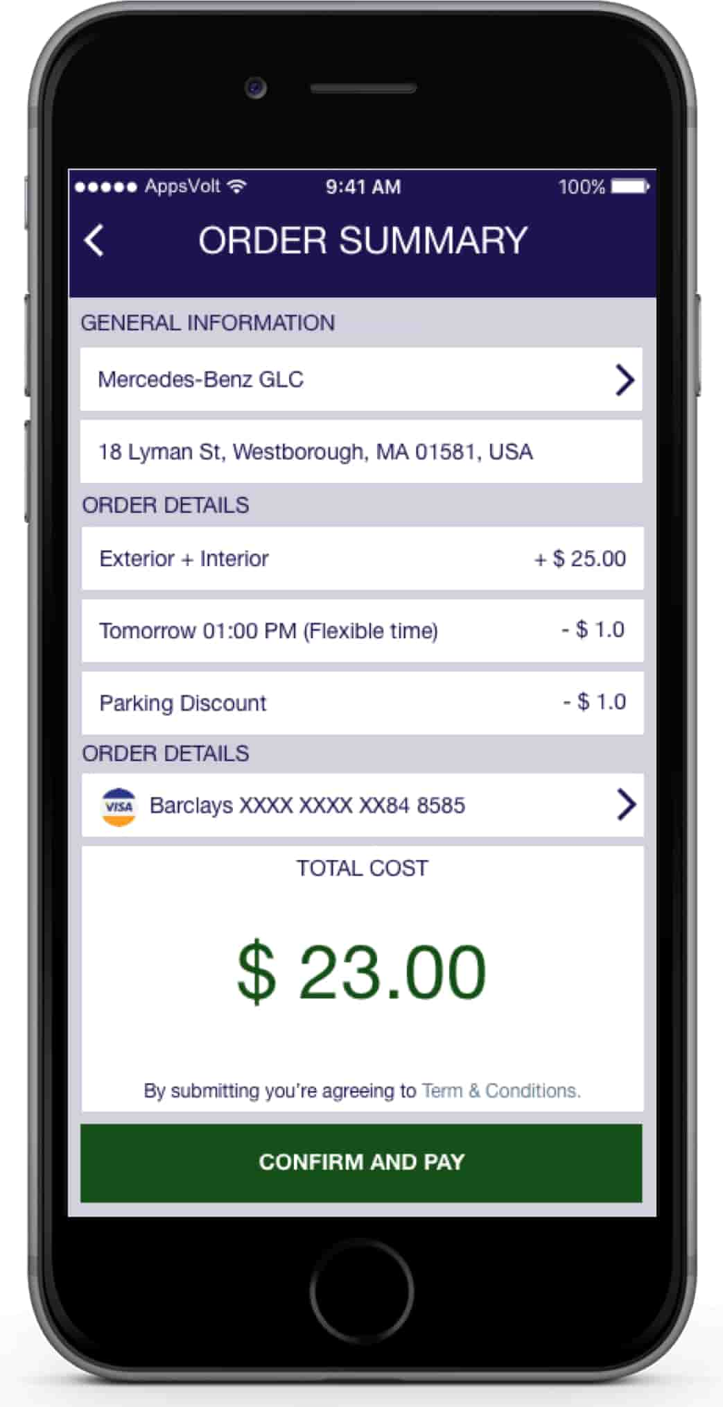 Car Washing Booking iOS Application-order-summary