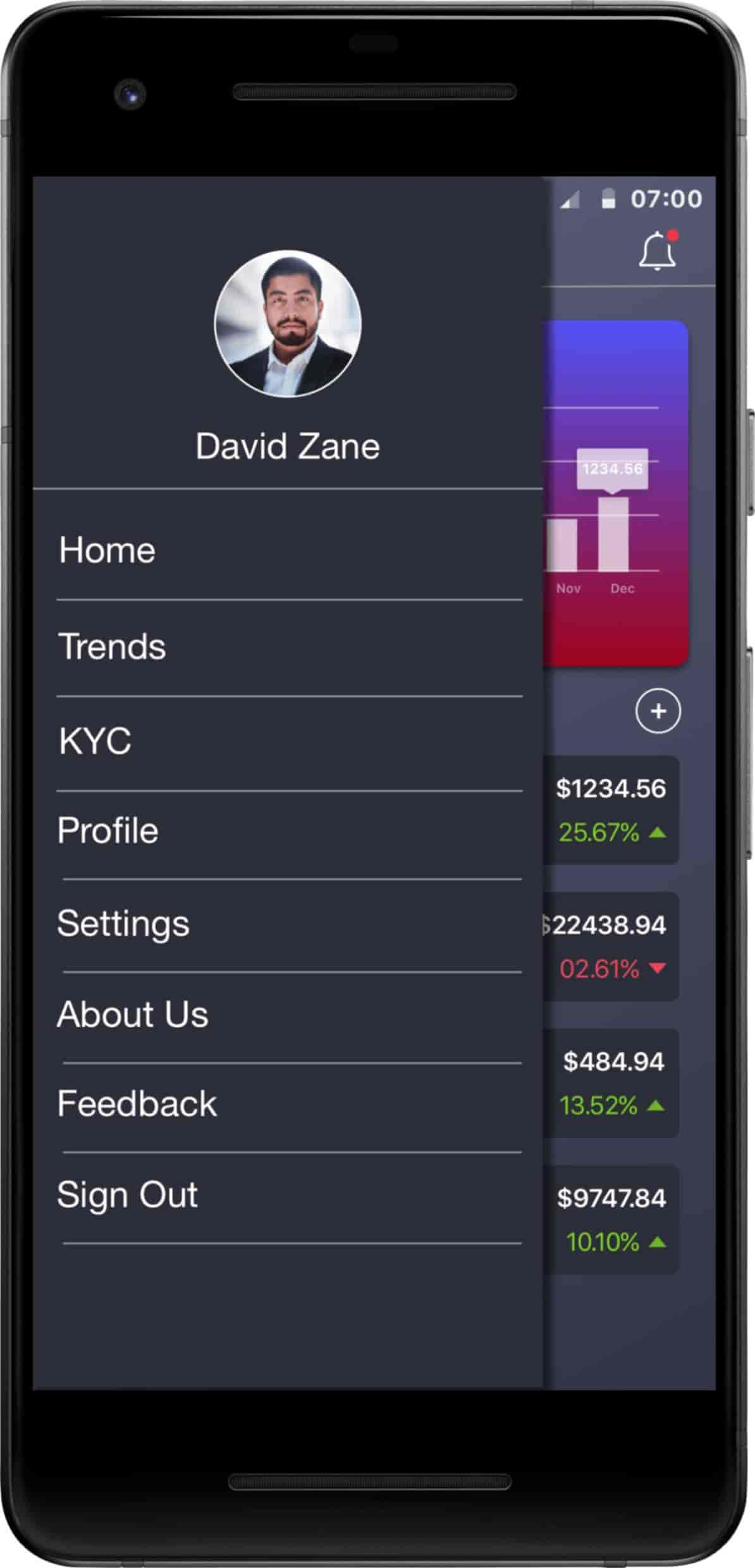 Cryptocurrency Trading iOS and Android Application-Android-phone-dashboard