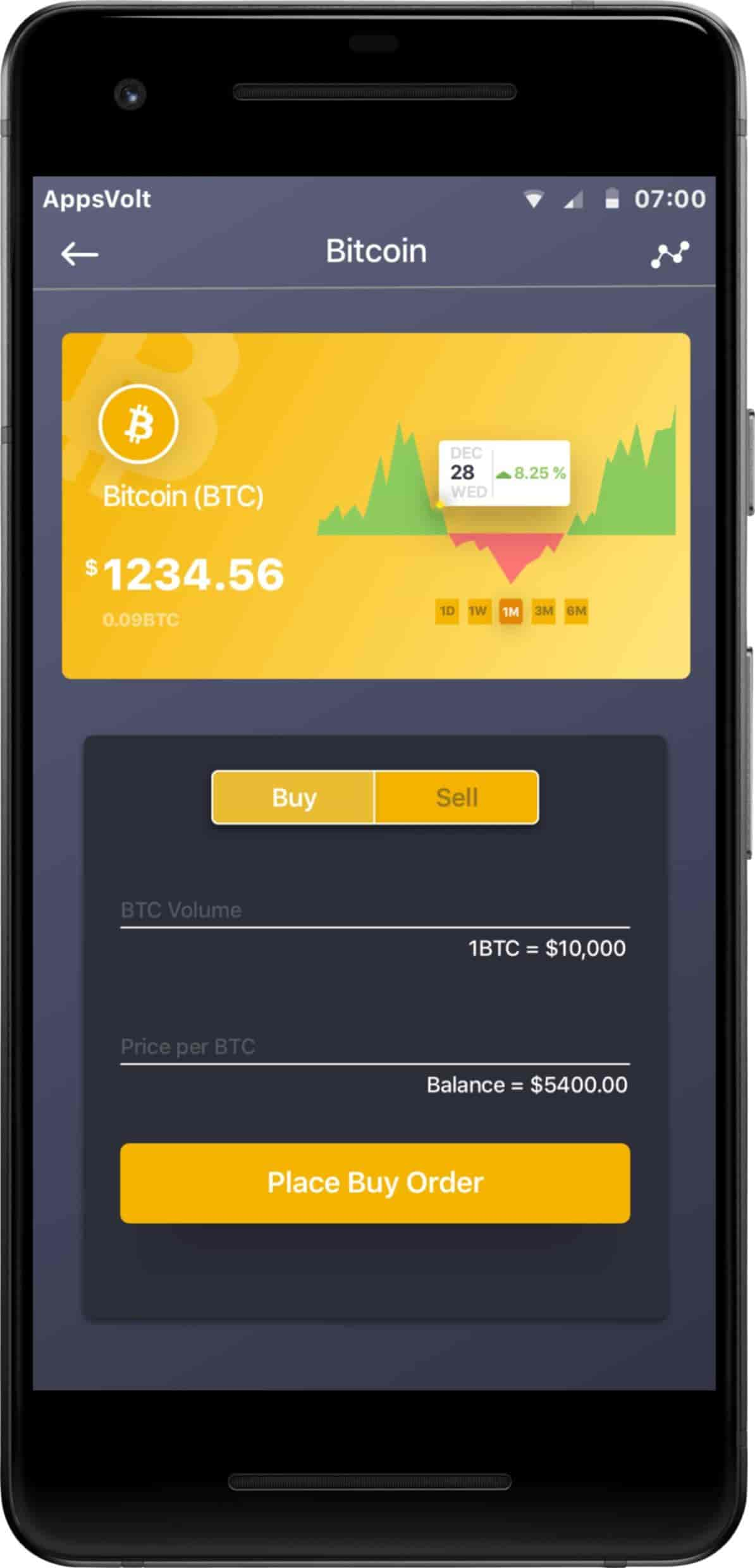 Cryptocurrency Trading iOS and Android Application-Android-phone-place-an-order