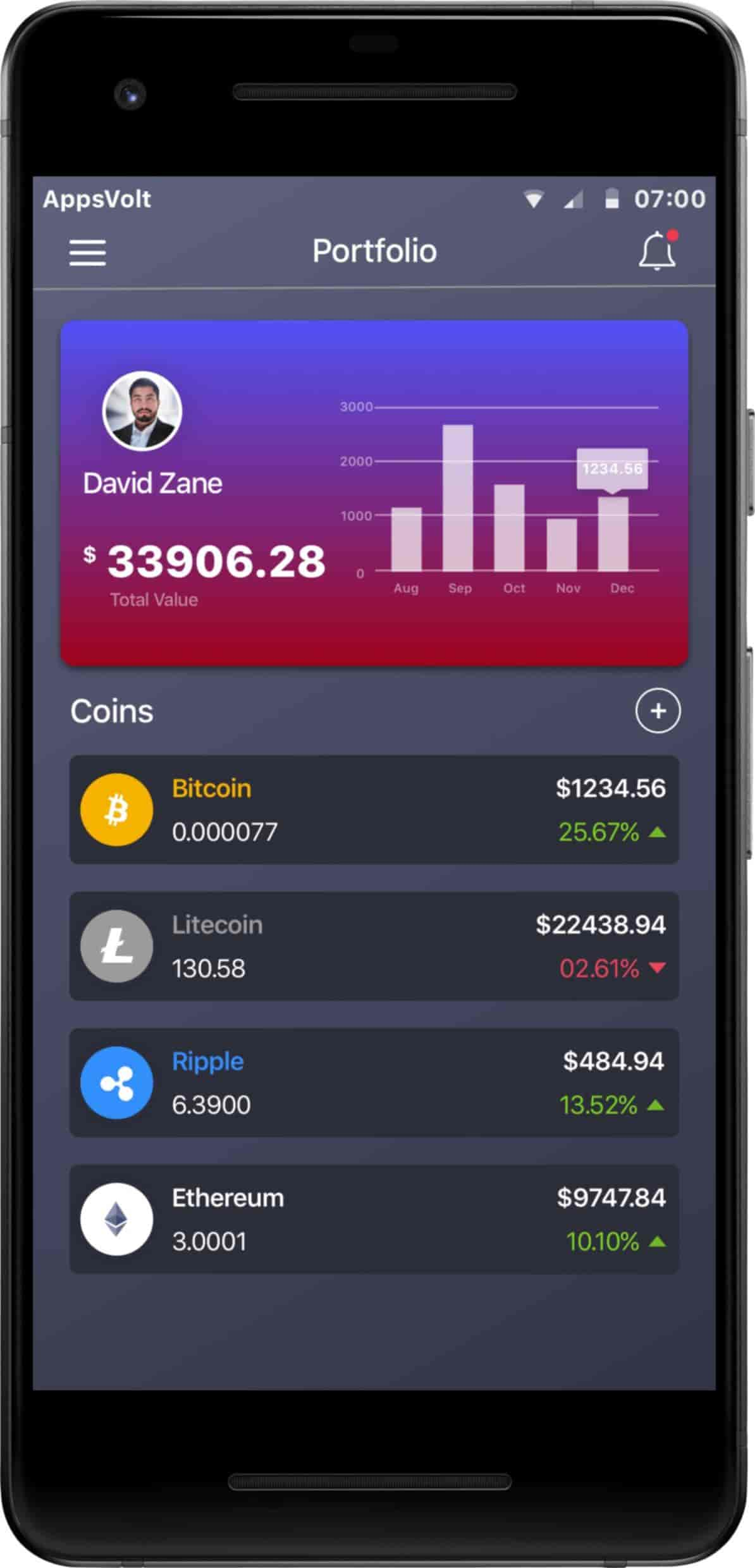 Cryptocurrency Trading iOS and Android Application-android-phone-portfolio