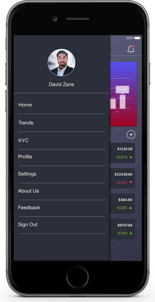 Cryptocurrency Trading iOS and Android Application-iPhone-Dashbaord