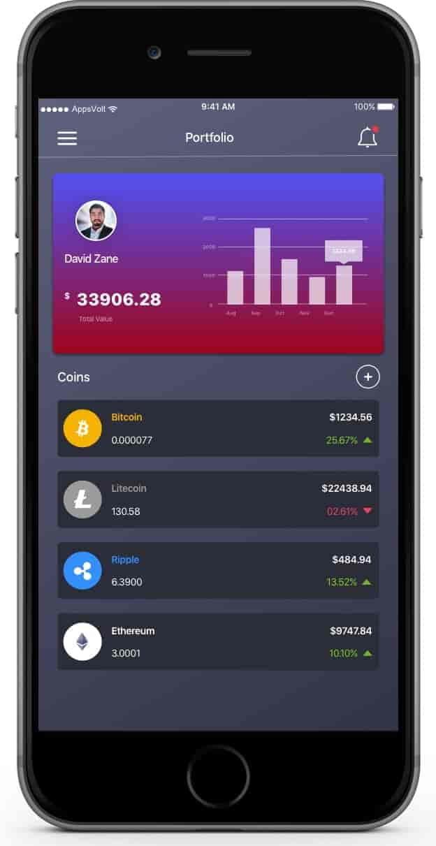 Cryptocurrency Trading iOS and Android Application--iPhone-Portfolio