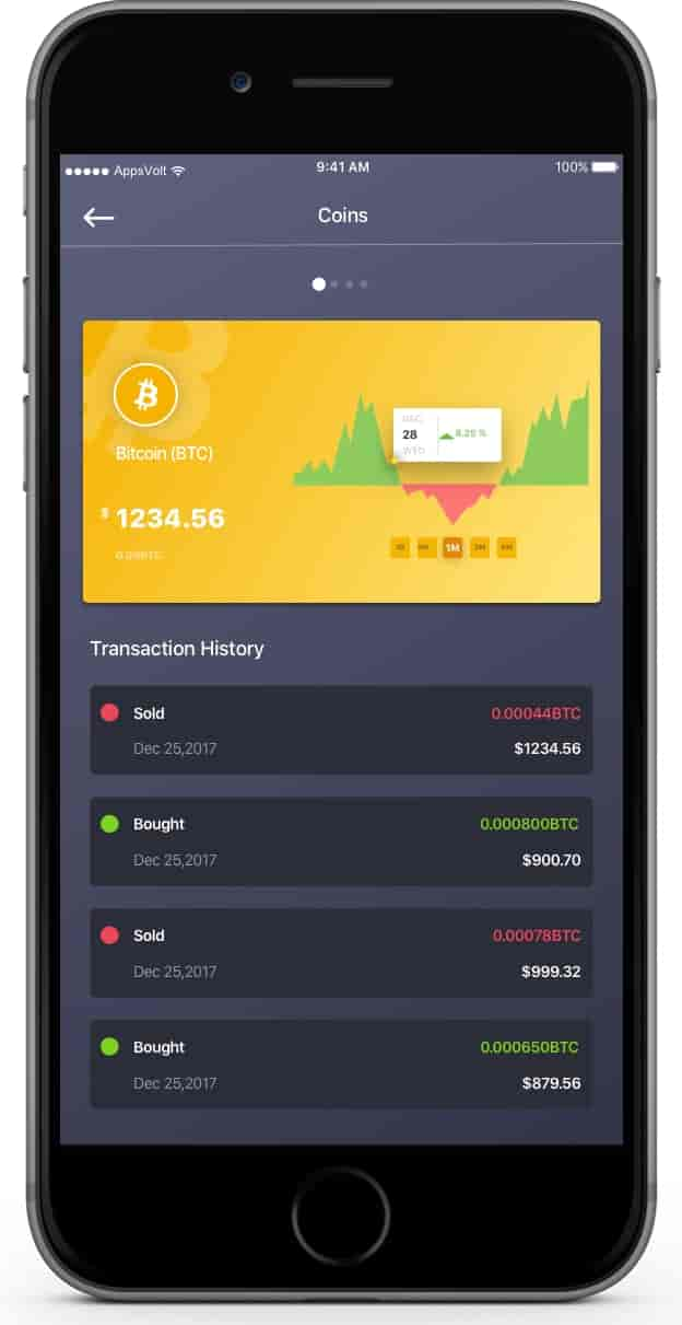 Cryptocurrency Trading iOS and Android Application--iPhone-Transaction-history