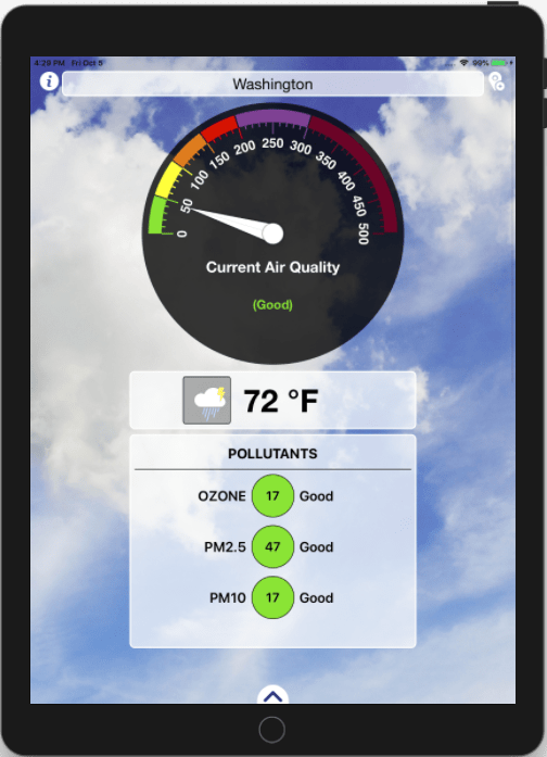 Air Quality Index and Weather Forecast iOS Application_iPad_1_Appsvolt