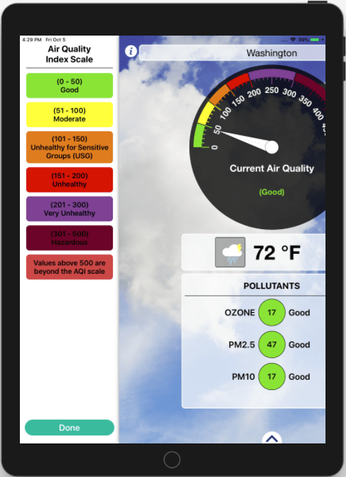 Air Quality Index and Weather Forecast iOS Application_iPad_2_Appsvolt