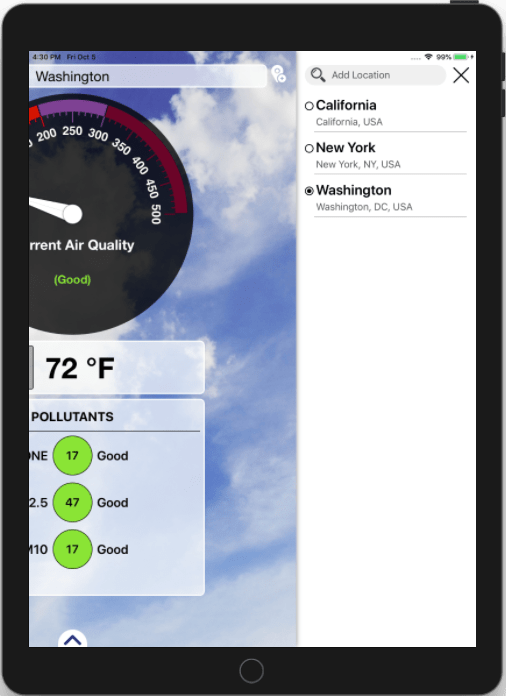 Air Quality Index and Weather Forecast iOS Application_iPad_4_Appsvolt