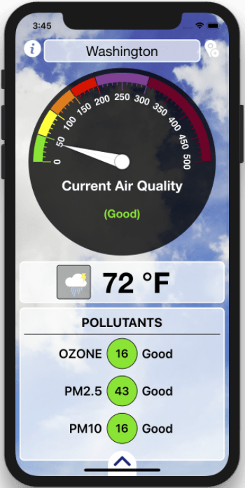 Air Quality Index and Weather Forecast iOS Application_iPhone_1_Appsvolt