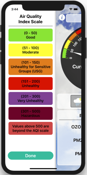 Air Quality Index and Weather Forecast iOS Application_iPhone_2_Appsvolt