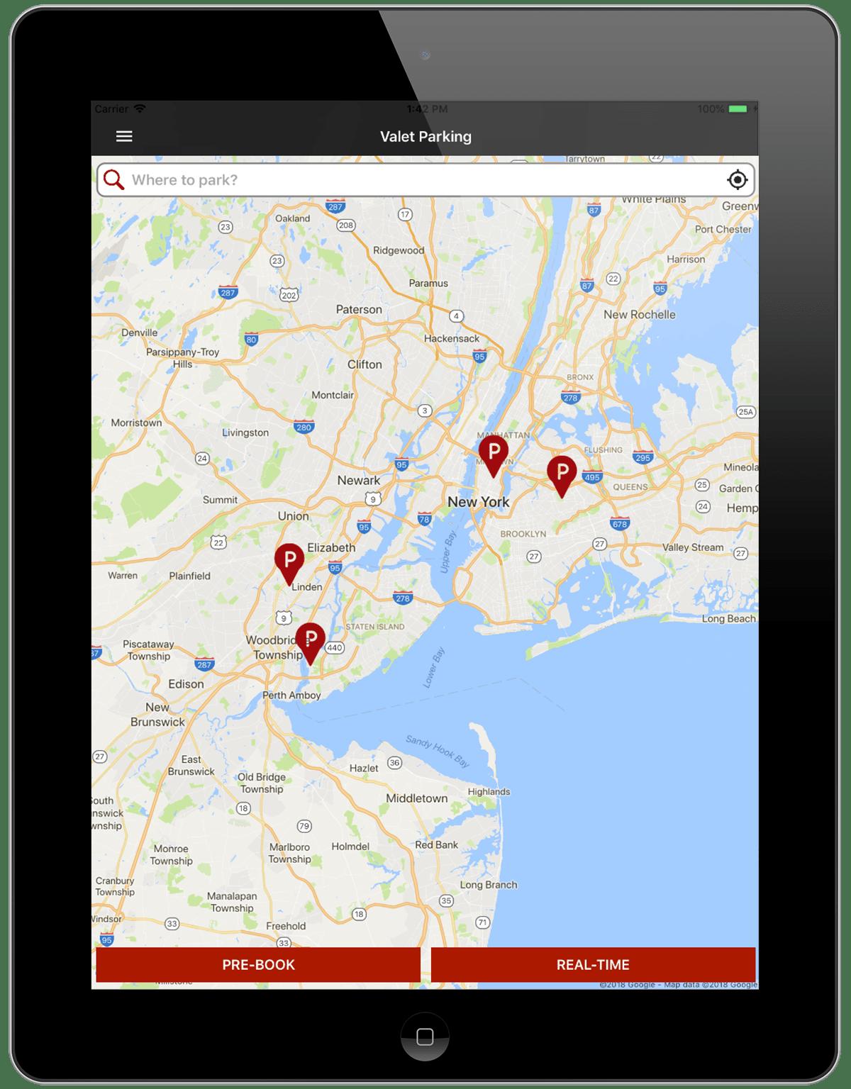Valet Car Parking Finder Application-iPad-location