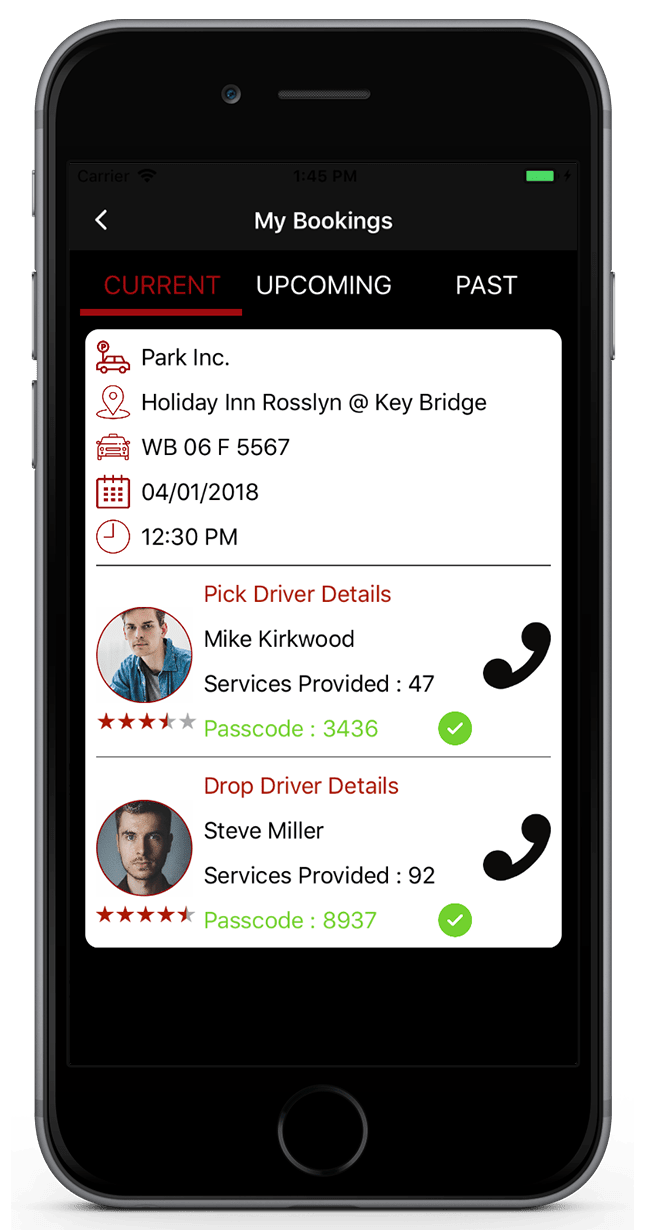 Valet Car Parking Finder Application-iPhone-my-bookings